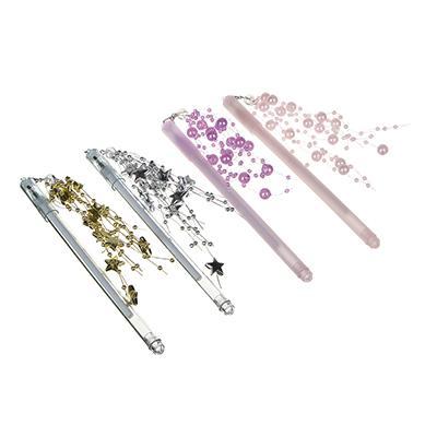 Ручка гелевая синяя с подвеской-декором с бусинами/звездочками, 17см, 0,5мм, пластик, 4 дизайна