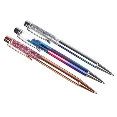 Ручка-антистресс шариковая синяя, верх с плавающими блестками, металл, ПВХ - бокс
