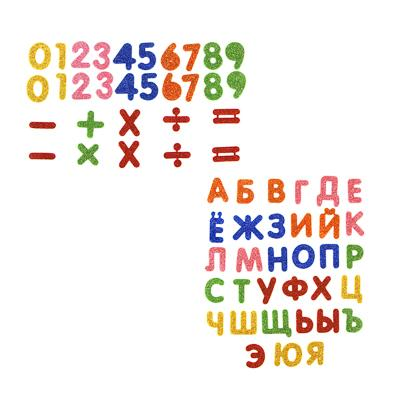 LADECOR Наклейка декоративная, цифры и буквы с глиттером, 14х12,5 см, ПЕВА, 2 вида