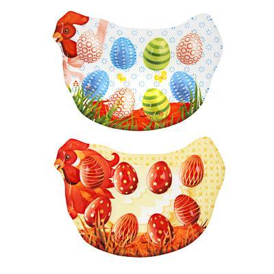 Курица Блюдо-подставка для 8 яиц, 25х17,5х1,7см, стекло, 2 дизайна