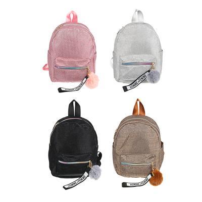 Рюкзак мини, 28x23x10см, 1 отд, 3 карм,фактурный материал с блестками,брелок,радужные молнии,4цв