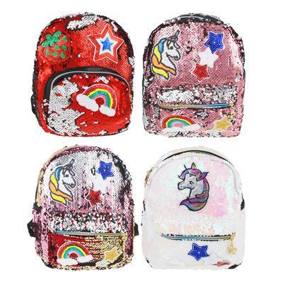 Рюкзак мини, 28x23x10см,ПЭ,1 отд,3 карм,2-сторонние пайетки декор со стразами,радуж.молнии,4 дизайна