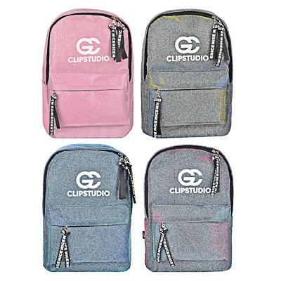 Рюкзак подростковый, 41x31x11,5см, 1 отделение, 3 кармана, радужный полиэстер с блестками, 3 цвета
