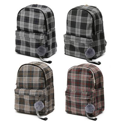 Рюкзак подростковый, 39x32x14см, 1 отд, 3 карм, полиэстер под ткань, брелок, шотландка, 4 дизайна
