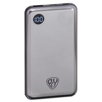 FORZA Аккумулятор мобильный, 10000 мАч, USB+Type-C, Быстрая зарядка QC3.0+PD, 3А, дисплей, металлик
