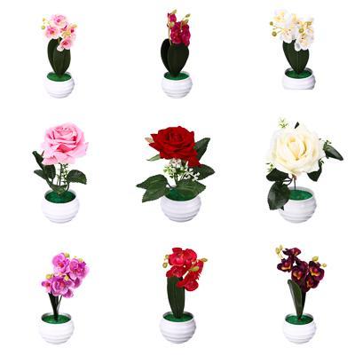 LADECOR Цветы в горшке, керамика, пластик, 7х7х17,2см, 9 цветов, 2 вида