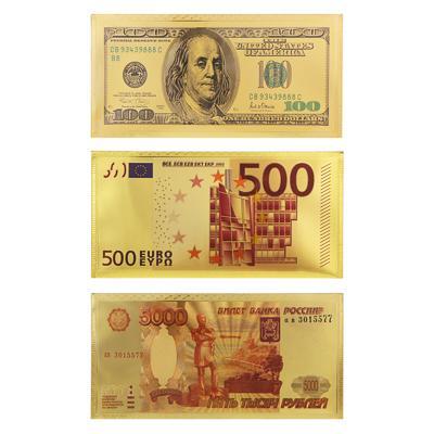Конверт для денег 9x18см, золотой, пластик, 3 дизайна, 521054/079
