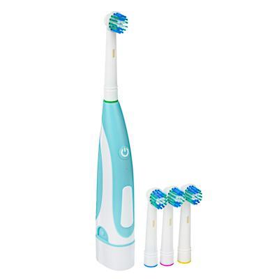 LEBEN Зубная щётка электрическая, круглая, 4 насадки в комплекте, 2xАА, 6000 об/мин 263-014
