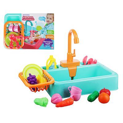 ИГРОЛЕНД Раковина, посуда, продукты, функция вода, 2хАА, PVC, ABS, 19 пр., 34х24х9 см, 4 дизайна