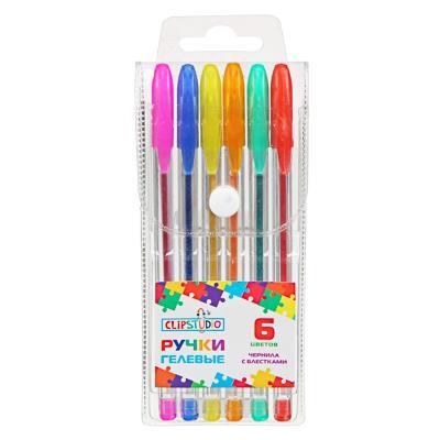 ClipStudio Набор ручек гелевых 6 цветов с глиттером, 0,7мм, в ПВХ пенале с подвесом