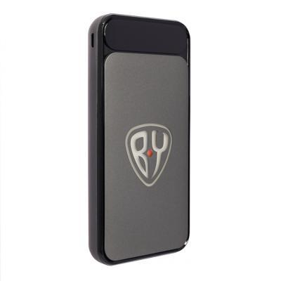 BY Аккумулятор мобильный с подсветкой, 10000мАч, 2 USB, 2A, прорезиненный корпус, пластик