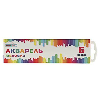 Краски акварельные медовые, 6 цветов, без кисточки, в картонной упаковке