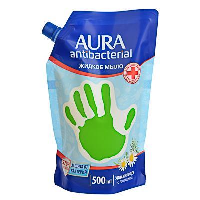 Мыло жидкое AURA с антибактериальным эффектом, 500мл, ромашка, дой-пак