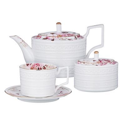 MILLIMI Роскошь Набор чайный 14 пр., чашка 290мл, чайник 1150мл, сахарница 380мл, кост. фрф