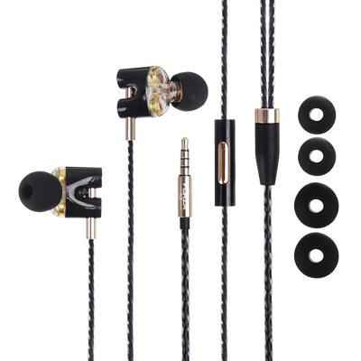 FORZA Наушники с двойным драйвером проводные внутриканальные с гарнитурой, оплетка TPE,130см,пластик