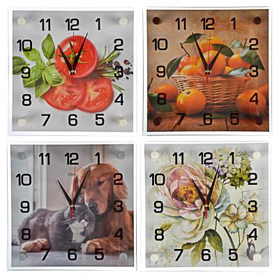 Часы настенные, 25х25см, стекло, 4 дизайна