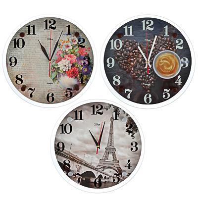 Часы настенные, 30см, стекло, 3 дизайна