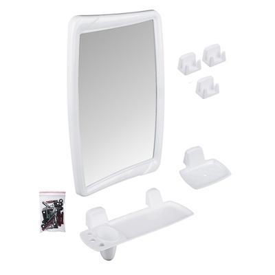 Комплект для ванной 6 пр (зеркало, 3 крючка, полка, подставка для мыльницы), пластик, 35,2х52см