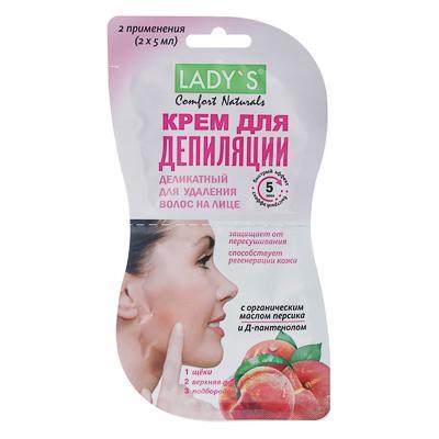 Крем для депиляции LADY S Comfort Naturals деликатный, для удаления волос на лице, 10 мл