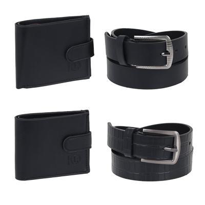 ЮL Набор: ремень мужской и портмоне на застежке, ПУ, металл, цвет черный, 2диз, ПР-21