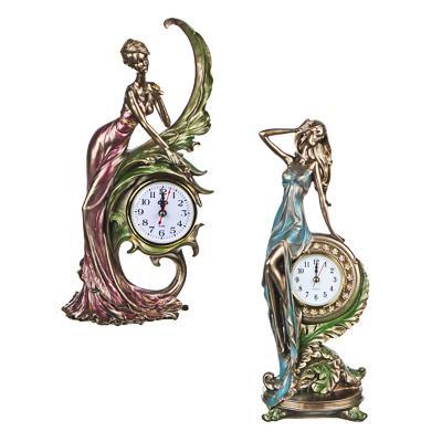 LADECOR Часы-статуэтка в виде девушки, полистоун, 33х14х11см, 1хАА/1хААА, 2 дизайна