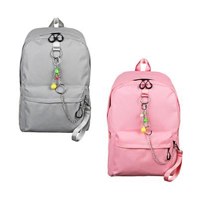 Рюкзак подростковый, 43,5x29x13см, ПЭ, 1 отделение, 3 кармана, брелок, металлические цепи, 2 цвета
