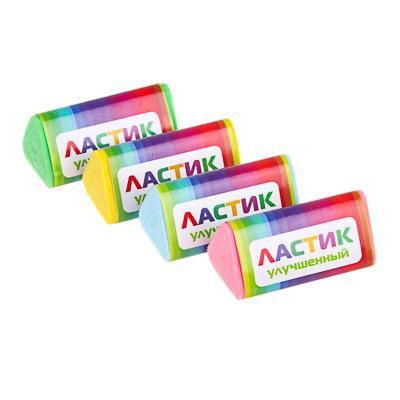 ClipStudio Ластик трехгранный, 3,5х1,8х1,8см, в держателе, улучшенное стирание, ТПР, 4 цвета