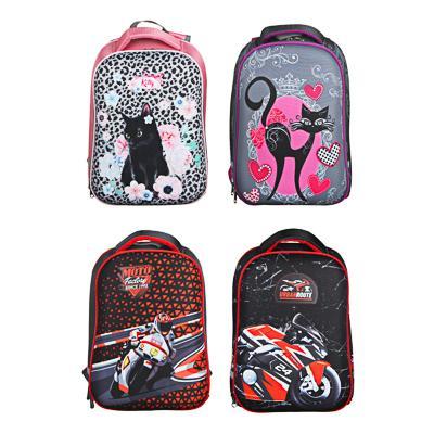 Рюкзак детский жесткий, 38x30x20см, 2 отделения, 2 кармана, эргономичная спинка, полиэстер, 4 диз.