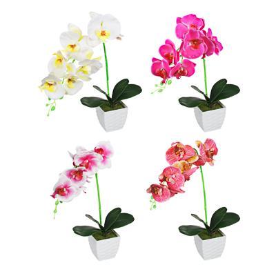 LADECOR Цветочная композиция Орхидеи, в декоративном горшке, пластик, 45см, 4 цвета