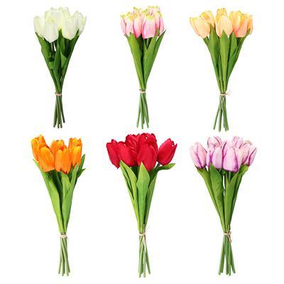 LADECOR Букет тюльпанов, 35см, пластик, полиэстер, 7 цветков, 6 цветов