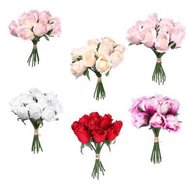 LADECOR Букет роз, 25см, пластик, полиэстер, 11 роз, 6 цветов