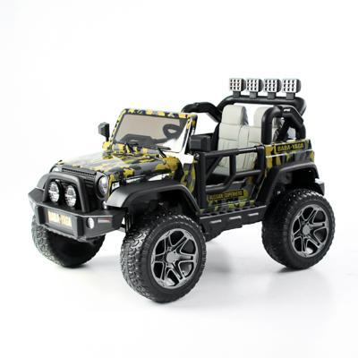 Электромобиль полноприводный BY, 4-6 км/ч, милитари серо-желтый