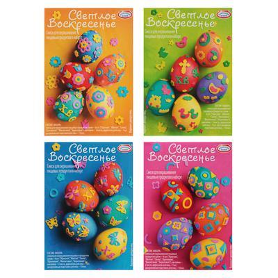 Набор для декора яиц (краситель пищевой сухой 6шт + наклейки 4листа, держатель для яиц)