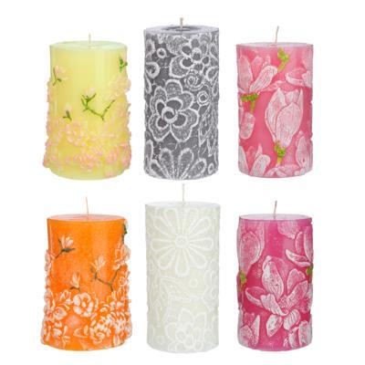 Свеча текстурная, 12,5х7,5см, парафин/стеарин, 3 дизайна, 6 цветов