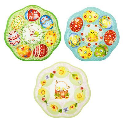 Блюдо-подставка для 7 яиц, 20см, стекло, 3 дизайна