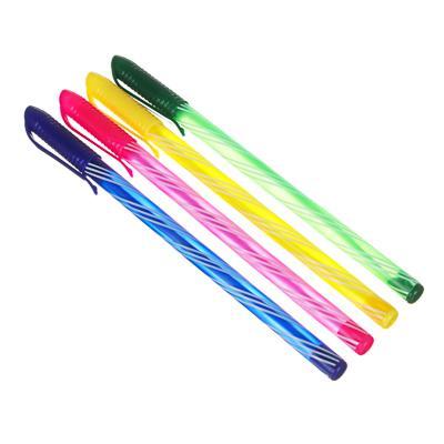 Ручка шариковая синяя, с цветным