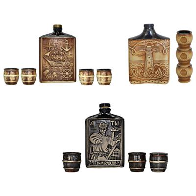 Набор подарочный 4 пр.: штоф фигурный малый со стопками, керамика, 3 дизайна