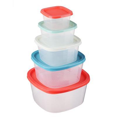 Набор контейнеров д/продуктов 5шт, квадратные 0,23л+0,5л+0,9л+1,55л+2,65л, пластик