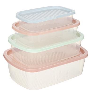 Набор контейнеров для продуктов 4шт, прямоугольные 0,5л+1,0л+1,6л+2,3л, пластик
