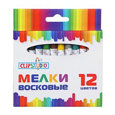 ClipStudio Мелки восковые 12 цветов, 7,8см, на органической основе, в картонной коробке с подвесом