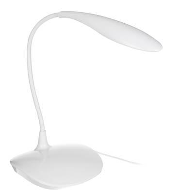 FORZA Лампа настольная, 14 LED, питание USB, кабель 1.5м, 600Lux, белая, пластик