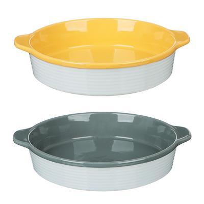 MILLIMI Форма для запекания и сервировки круглая с ручками, керамика, 29,5х25,5х6см, рельеф, 2 цвета