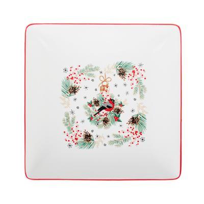 MILLIMI Снегирь Блюдо квадратное, 18х18х4,5см, керамика