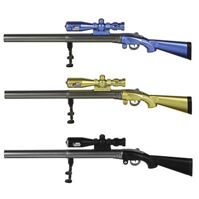 Ручка гелевая синяя, в форме винтовки, фонарик в прицеле, выдвижная подставка, пластик, 3 цв.корпуса