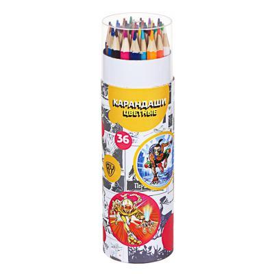BY Карандаши цветные, 36 цветов, 6-гранные заточ., в круглом картоном пенале, 18,5х5,3см, дерево