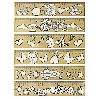 Линейка-раскраска 18 см, белая поверхность, контуры рисунков, дерево, инд.маркировка, 6 дизайнов