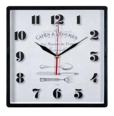Часы настенные квадрат 30х30см, корпус черный