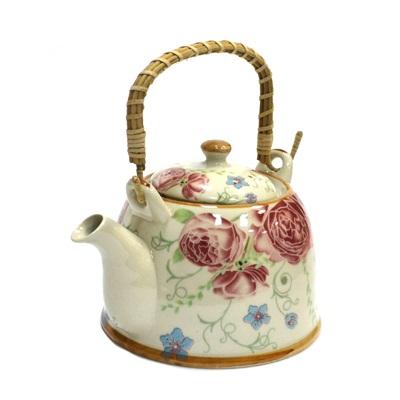 """Чайник заварочный керамика, 900мл, с ситечком и бамбуковой ручкой """"Роза"""" - 1"""
