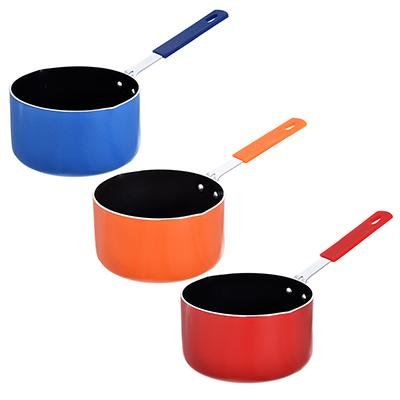 Ковш с антипригарным покрытием 1,1л d. 14см, листовой алюминий, силиконовая ручка, 3 цвета - 1