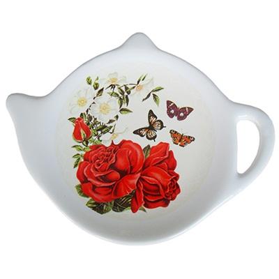 """Подставка для чайных пакетиков 2шт, керамика, 12,5x8x0,96см, """"Розы в саду"""" - 1"""